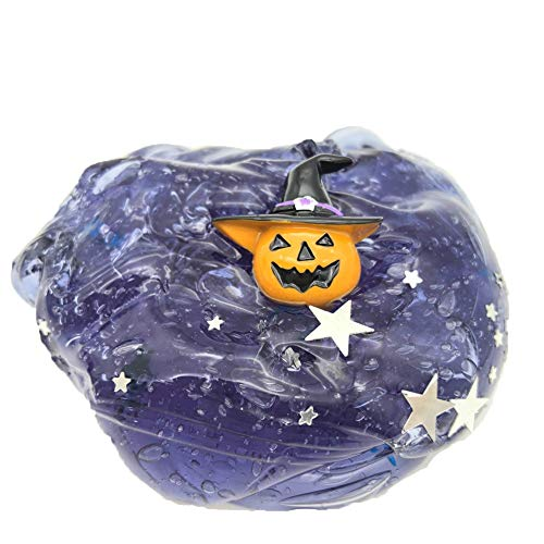 VOWUA Slime Halloween Series Trick Or Treat Pumpkin Head Star Shaped Sequins Slime Putty Stress Relief Kids Clay Toys
