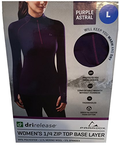 (Paradox Performance Women's Merino Blend Zip-Up Long Sleeve Base Layer (Purple Astral, Large))