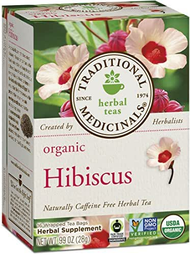 Traditional Medicinals Naturally Caffeine Free Herbal Tea, Organic Hibiscus, 16 CT (Pack of 6)