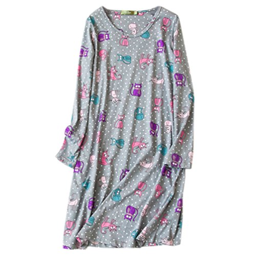 ENJOYNIGHT Women's Cotton Sleepwear Long Sleeves Nightgown Print Tee Sleep Dress (X-Large, Grey - Print Nightshirt Womens
