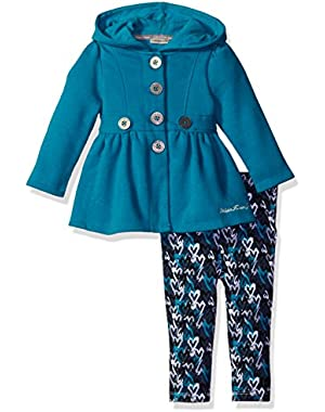 Baby Girls' Hooded Fleece Jacket with Leggingg Set