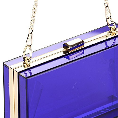 See Cross Clutch Handbag Transparent Clear Purse Party Evening Through Blue Bag Body Womens Acrylic YUHq11