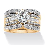 18K Yellow Gold over Sterling Silver Round and Baguette Cubic Zirconia Bridal Ring Set Size 7