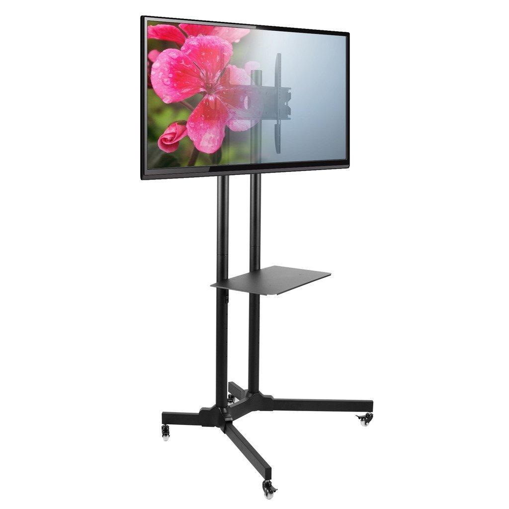 "Seneca AV SM61 Mobile Flat Panel TV Mount – For 30"" to 65'' Monitor Displays – Adjustable Height – Black"