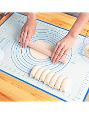Silicone Pastry Baking Mat Non Stick Large Extra Thick with Measurements Baking Mat,Counter Mat, Dough Rolling Mat,Oven Liner, 20 x 16 Inch by LIMNUO (Red, 16x20)