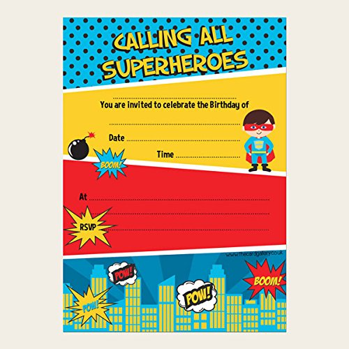 Niños invitaciones de cumpleaños - Comic superhéroe - Pack ...