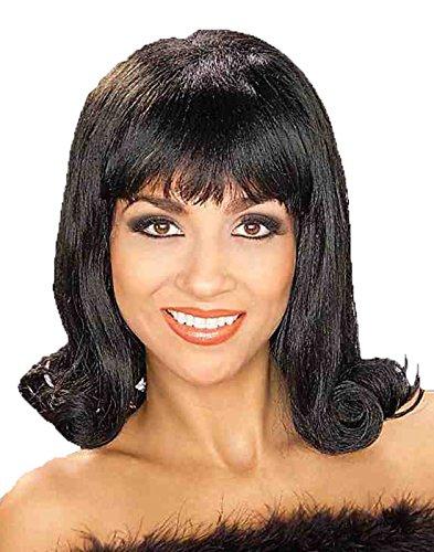 Forum Novelties Women's 60's Flip Curly Costume Wig, Black, One Size -