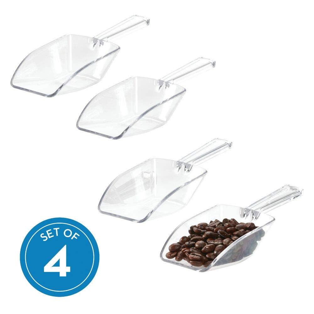 iDesign Large Plastic Measuring Scoops for Baking, Kitchen Pantry, Pet Food, Laundry, Bath, 1/3 Cup, Set of 4, Clear