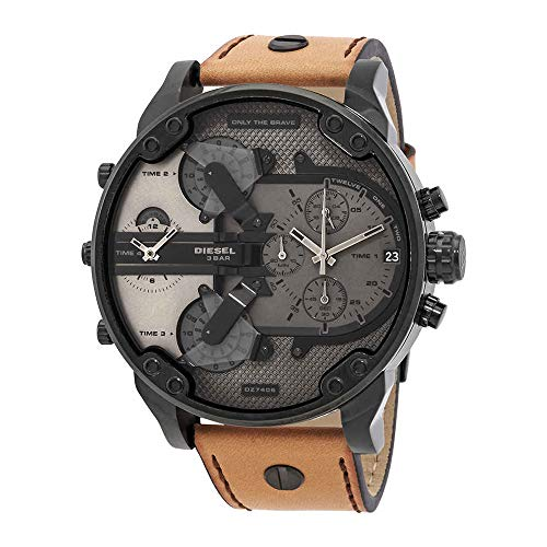 Diesel Brown Leather - Diesel Men's Mr Daddy 2.0 Quartz Stainless Steel and Leather Chronograph Watch, Color: Black, Brown (Model: DZ7406)