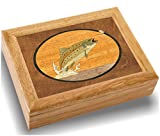 Wood Art Fish Box - Handmade in USA - Unmatched Quality - Unique, No Two are the Same - Original Work of Wood Art. A Trout Gift, Ring, Trinket or Wood Jewelry Box (#2123 Trout and Mayfly 6x8x2)