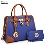 MMK Collection Medium Size Vegan Leather Two-Tone Women Satchel with Chain Shoulder Strap and FREE Matching Wallet~Popular Gift for Lady~Amazing Travel Handbag(6892W) (XL-MA-02-6892-W-R.BL)