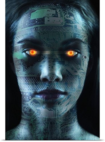 Great BIG Canvas Poster Print entitled Headshot of robotic woman by greatBIGcanvas