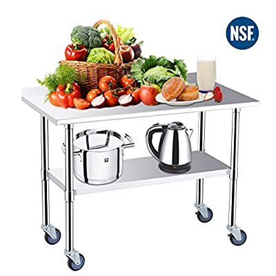 Stainless Steel Prep Table-48x24 Inches NSF Commercial Work Table Food Metal Table Heavy Duty Kitchen Garage Worktables and Workstations Sandwich Top with 4 Caster Wheels