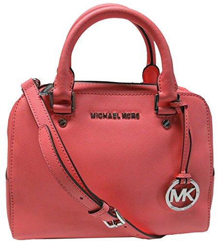7d17804487308 Michael Kors Saffiano Leather Jet Set Travel Medium Satchel Coral by Michael  Kors