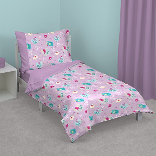 Trunk Flowering (Zutano Elephant Princess 4-Piece Toddler Bed Set, Lavender, Teal, Grey, Pink)