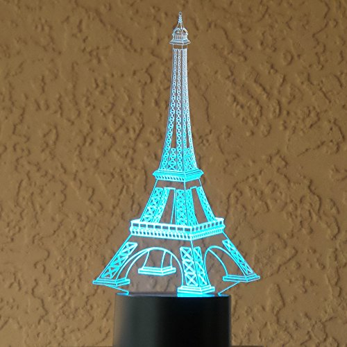 Optical Illusion 3D Eifel Tower Lighting by Playtime 123 is a Great Nightlight with a Soft Subtle Glow for Kids. These Eco-friendly Laser Cut Precision LED Lights Make Beautiful Gifts ()
