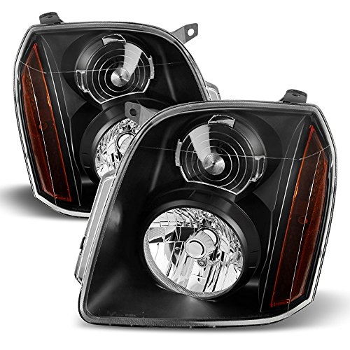 ACANII - For Black 2007-2014 GMC Yukon XL 1500 2500 Denali Headlights Headlamps Driver + Passenger Side