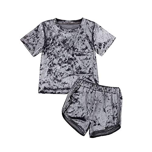 GOOCHEER 2 Pcs Fashion Toddler Kids Baby Boys Girls Velvet Clothes Outfit Shorts Set (2-3 Years, Grey (Short Sleeve))