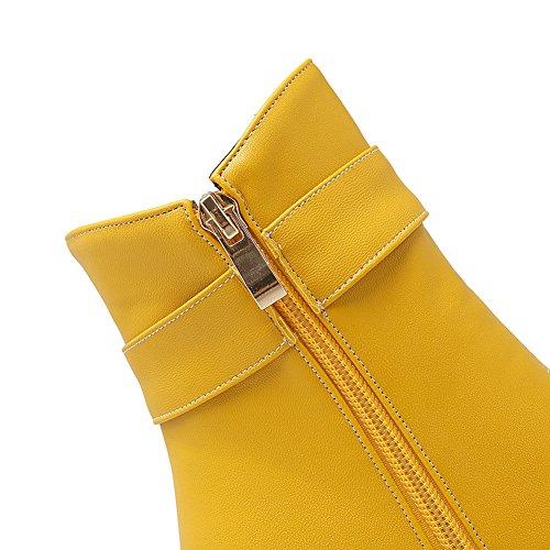 BalaMasa Womens Spun Gold Bowknot Chunky Heels Platform Imitated Leather Boots Yellow Nvz0g3