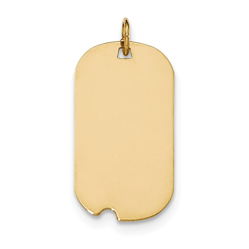 14k Yellow Gold Plain .009 Gauge Engraveable Dog Tag w//Notch Disc Charm