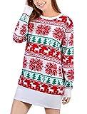 Idgreatim Women Ladies Christmas Reindeer Snowflake Knit Long Sleeve Tunic Sweater Dress Red Medium