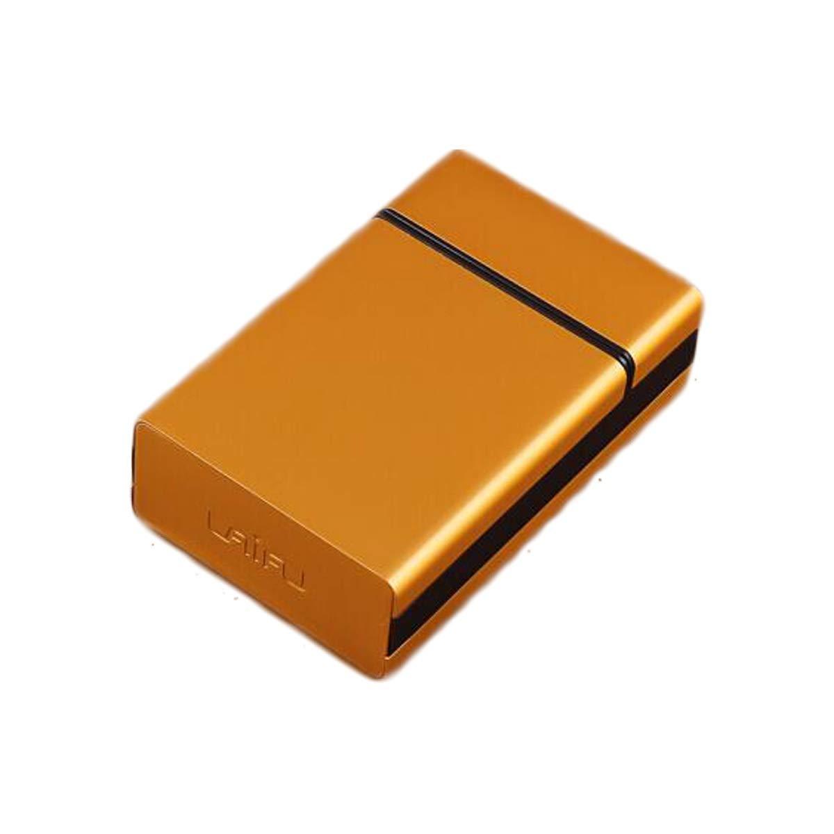 WENPINHUI Cigarette Case, Soft Pack Cigarette Case 20 Sticks Metal Portable Flip Cover Slim Creative Personality Authentic Men's Smoking Set (Color : Gold) by WENPINHUI
