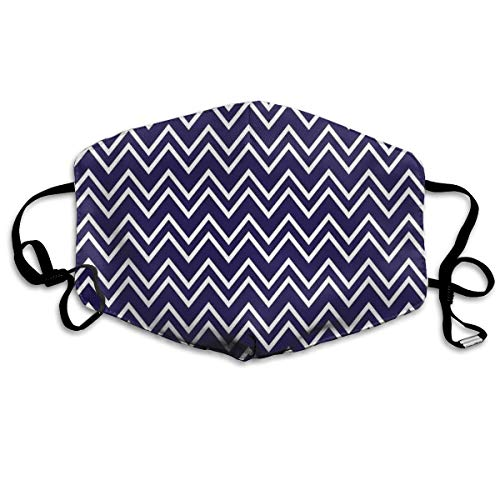 Back Mask Navy Face - TRUSTINEEB Navy Blue Back Grounded Zig Zag Patterned Breathe Healthy Dust,Allergy & Flu Mask Comfortable,Washable Protection from Dust,Pollen,Allergens,Cold & Flu Germs with Antimicrobial Asthma Mask