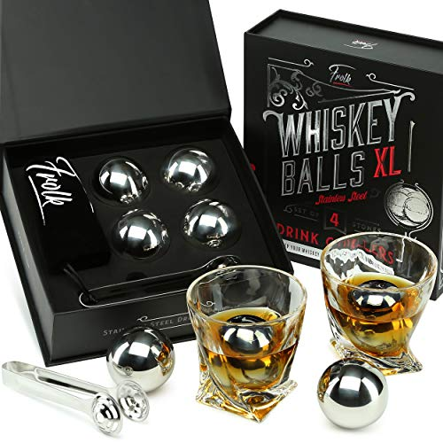 Whiskey Stones Gift Set for Men & Women -4 XL Stainless Steel Whisky Ice Balls, Special Tongs & Freezer Pouch in Luxury…