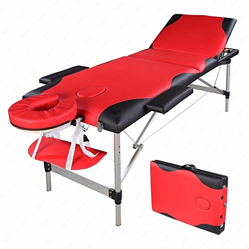 e Comfort 3 Section Massage Table All-Inclusive Adjustable Headrest &Height, Professional Folding Facial SPA Bed (Table Pad Head Section)