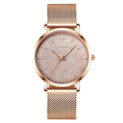 - Women's Rose Gold Watch Analog Quartz Stainless Steel Mesh Band Casual Fashion Ladies Wrist Watches