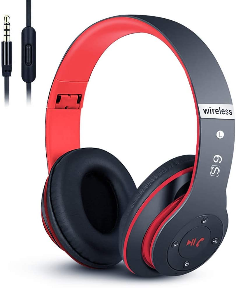 6S Wireless Headphones Over Ear,Hi-Fi Stereo Foldable Wireless Stereo Headsets Earbuds with Built-in Mic,Volume Control, FM for iPhone/Samsung/iPad/PC (Black&Red 1)