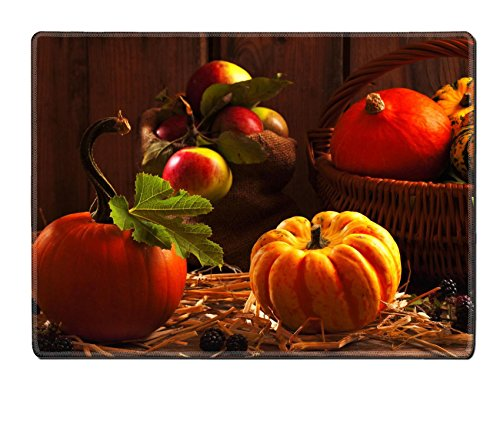 MSD Natural Rubber Placemat IMAGE ID: 7701246 Harvest setting with pumpkins gourds orchard apples and blackberry fruits