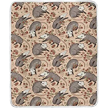 Opossum Roses Throw Blanket Soft Warm Cozy Bed Couch Lightweight Polyester Microfiber Size 50