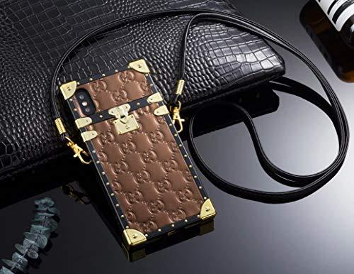 Phone case Compatible iPhone 6 Plus Case, iPhone6s Plus Case, Elegant Patent Leather Designer Momgram Pattern with Lanyard Protective Case iPhone6 Plus, iPhone6s Plus ()
