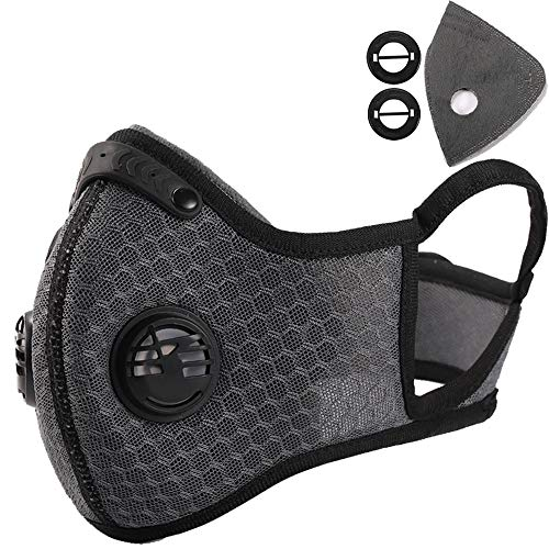 Novemkada Dust Mask - Activated Carbon N99 Earloop Dustproof Masks with Extra Filter Cotton Sheet and Valves for Exhaust Gas, Pollen Allergy, PM2.5, Running, Cycling, Outdoor Activities (Gray)