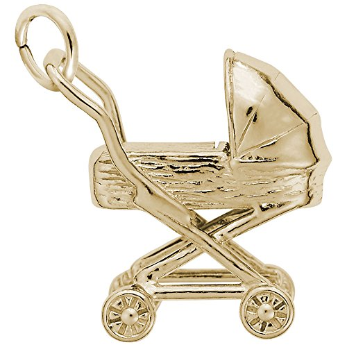 Baby Carriage Charm In 14k Yellow Gold, Charms for Bracelets and Necklaces