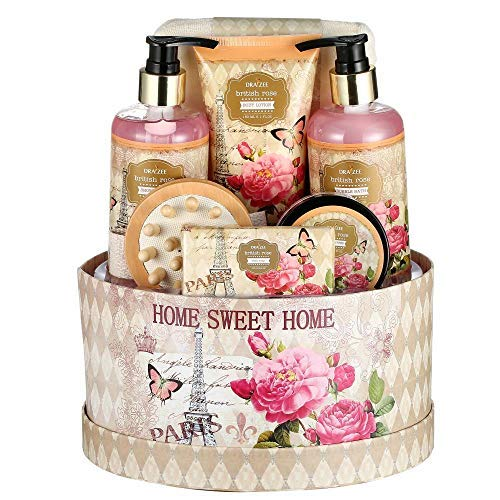Large Luxury Complete Spa at Home Experience Gift Basket for Women by Draizee 1 Best Gift for Mothers Day – Skin Care Set with Lotions, Creams, Bath Bombs More Luxury Spa Bath Set- Rose