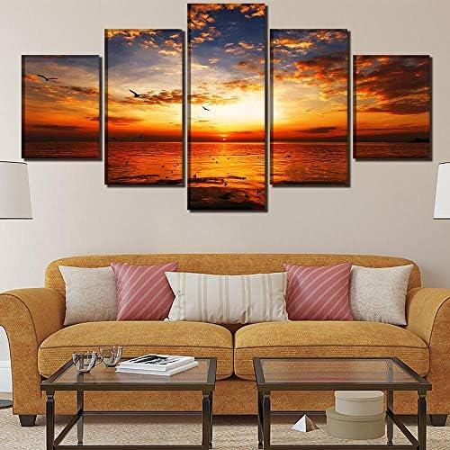 リビングルームの装飾壁キャンバスアートプリント風景スカイ絵画5ピースサンセット写真海と鳥ポスター40X60Cmx2 40X80Cmx2 40X100Cmx1なしフレーム