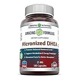 Amazing Formulas Micronized DHEA Dietary Supplement - 25mg Pure - 180 Pills Per Bottle - Dehydroepiandrosterone Vitamin Capsules for Men & Women