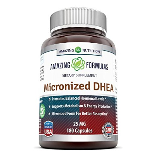 Amazing Formulas Micronized DHEA Dietary Supplement – 25mg Pure – 180 Capsules Per Bottle – Dehydroepiandrosterone Vitamin Capsules for Men & Women