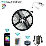 MIBOTE Led Strip Lights, WiFi Wireless Phone APP Controlled Strip Lights 16.4ft 150 LEDs Waterproof IP65 Rope Lights with DC12V UL Listed Power Supply, Work with Android, iOS and Alexa