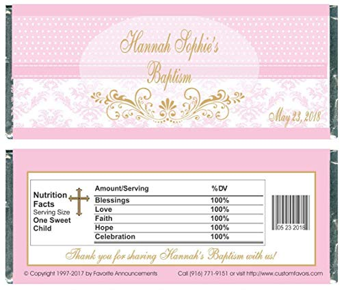 - Baptism Pink Polka Dot and Damask Candy Bar Wrappers, Personalized (Set of 12)(W728)