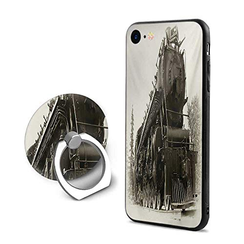 Steam Engine iPhone 7/iPhone 8 Cases,Antique Northern Express Train Canada Railways Photo Freight Machine Print Black Grey,Design Mobile Phone Shell Ring Bracket ()