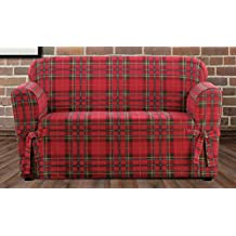 Sure Fit Highland Plaid 1-Piece  - Loveseat Slipcover  - Red (SF46429)