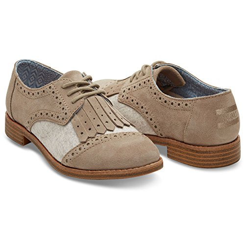 Toms Womens Brogue Dress Lace-up Desert Taupe Suede/wool Kiltie Oxford (8)