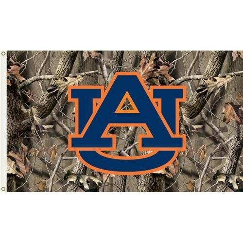 (Collegiate / College / NCAA Auburn Tigers 3 Ft. x 5 Ft. Flag with Grommets - Realtree Camo Background)