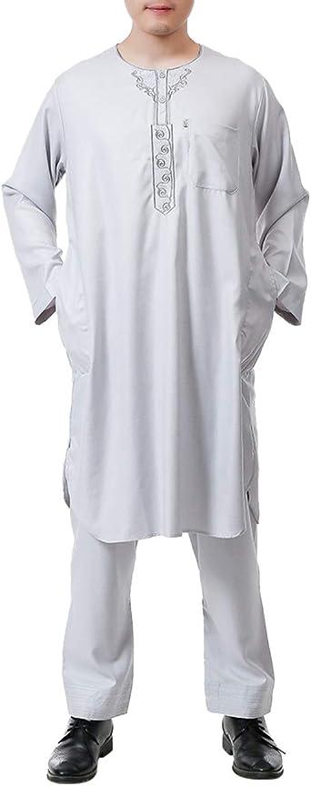TAAMBAB 2 Piezas Pavo Casual árabe Kaftan Ropa Musulmanes Túnica Traje - Color Puro Hombres Saudí Disfraces Suelto Batas