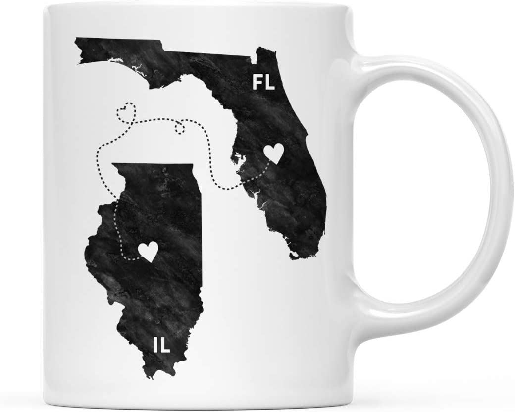 Andaz Press 11oz. Coffee Mug Long Distance Gift, Florida and Illinois, Black and White Modern, 1-Pack, Moving Away Graduation University College Gifts for Him Her Relationships