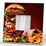 French Fries Burger Wall Framed Mirror with Food Art Fan Bar Cafe Kitchen Decor Home Design Gift