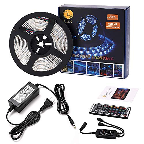 Chroma Key Kits - LEN Led Strip Lights 16.4 Feet Waterproof 150LEDs 5050 RGB Light Strip Complete Kit